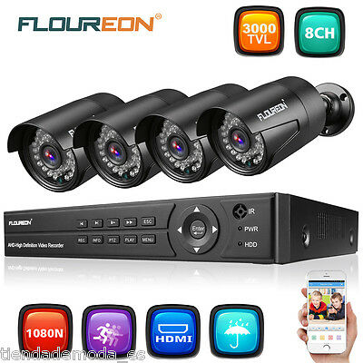 8CH Channel 5in1 HD 1080N DVR 3000TVL 1080P Camera Home CCTV Security System Kit