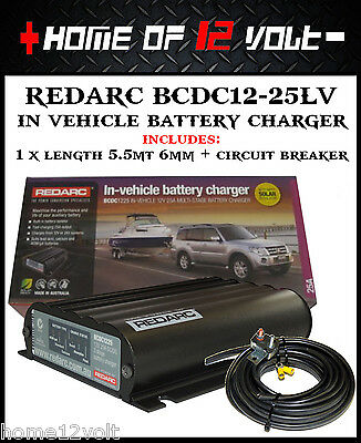 Redarc BCDC1225LV In vehicle battery charger +5.5mt 6mm cable + circuit breaker
