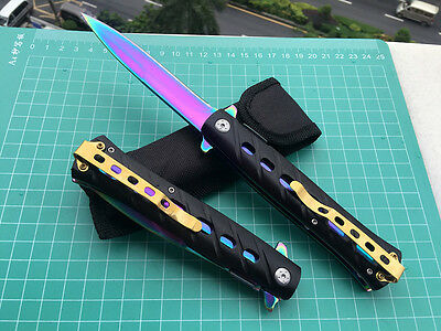 Assisted Opening  Folding Blade Pocket Outdoor Knife Saber With Pouch Colorized
