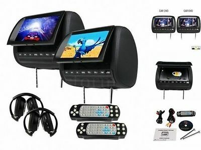 FREE HEADPHONES+2,Dual HD LCD Car DVD Player Pillow Headrest TV Monitor GAME SD