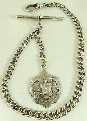 Antique silver albert pocket watch guard chain with silver medal fob