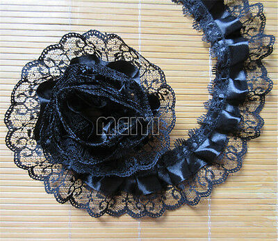 1 Yards 2-layer Pleated Organza Lace Edge Trim Gathered Mesh Ribbon Sewing Black