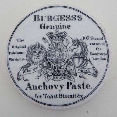 "Ceramic Burgess's Anchovy Paste Victorian Lid from 107 Strand London 3.5"" Wide"