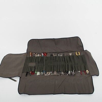 Large Green Canvas Tool Roll w/ Various Tools Army Surplus Sturdy Clean Brushes