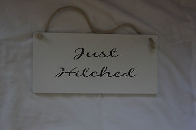 Just Hitched Shabby Chic Vintage Wedding Sign Bride And Groom