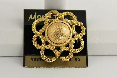 80s VINTAGE Jewelry MONET TEXTURED GOLD METAL ROPED BORDER BROOCH NOS