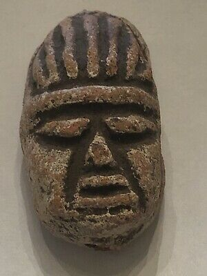 "Authentic Pre-Columbian Head Face Clay Pottery Pendant Bead 1.5"" Long"