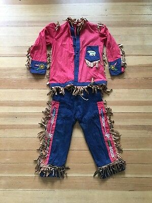 Vintage Halloween Costume Indian Childs Clothing Beaded Shirt Pants