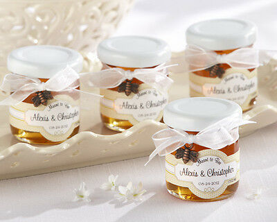 144 Meant to Bee Clover Honey Personalized Wedding Favors Jars Bow & Bee Charm