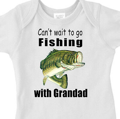 """CAN'T WAIT TO GO FISHING WITH GRANDAD"" BASS FISHING Infant Tee or Youth T-Shirt"