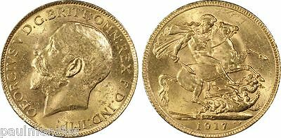 Canada 1917 King George V Choice Mint State Gold Sovereign Pcgs Ms64 S-3997