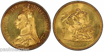 1887 Uncirculated Jubilee Queen Victoria Gold Five Pounds £5 Pcgs Ms62 S-3864 #5