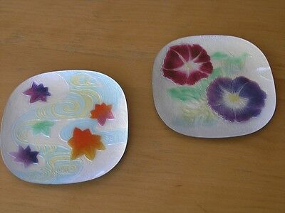 Two Very Pretty Vintage Square  Japanese Wireless Foil Cloisonne Dishes