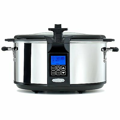 BELLA 14124 Programmable Slow Cooker with Searing Pot, 6.5-Quart, Stainless