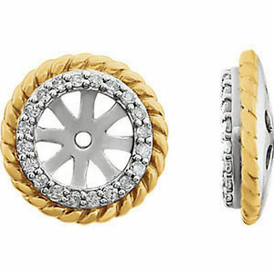 14kt White/14kt Yellow Gold Plated 1/8 ct. tw. Diamond Rope Earring Jackets
