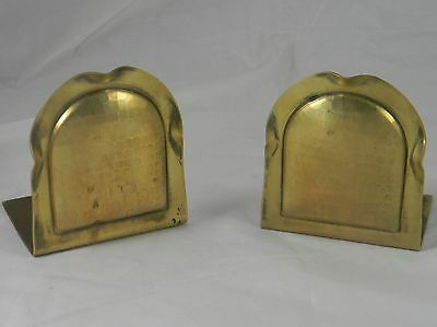 Roycroft Arts & Crafts Hammered Copper Brass Wash Bookends 1920s