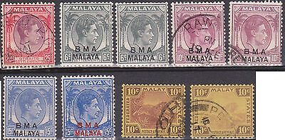 (OZ-109) 1945 Malaya 9mix of KGVI 6c to25c minor varieties