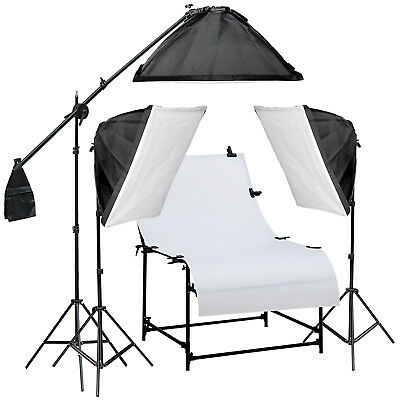 New Photo Studio Continuous Light Soft Box Boom Arm Shooting Table Kit Warranty