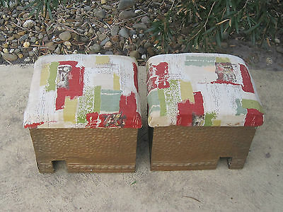 Pair Antique Vintage Retro Fire Place Wood Boxes With Tavern Scene.