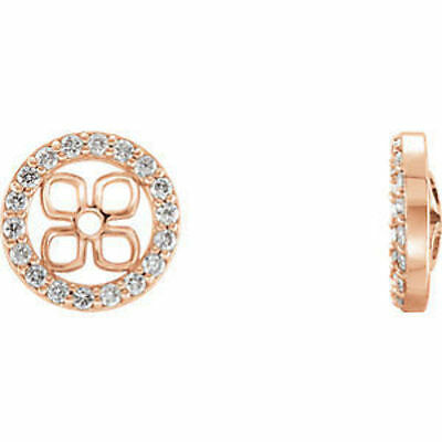 14kt Rose 3/8 ct. tw. Diamond Halo-Styled Earring Jackets