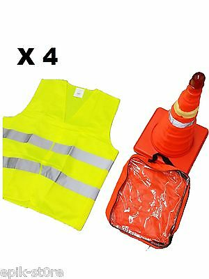 """➨�� 4x 18"""" Collapsible LED Traffic Safety Cones + Reflective Yellow Vest��█"""