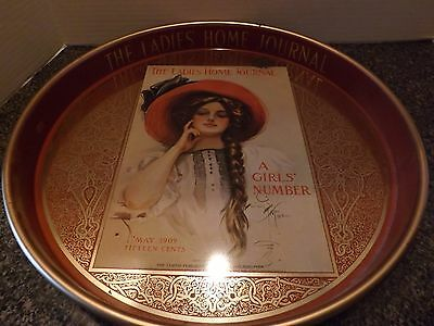 """Vintage """"The Ladies Home Journal"""" May 1909 14"""" Round Tin Serving Tray"""