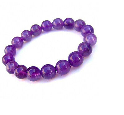 Natural Brazilian Amethyst Crystal 8mm Gemstone Elastic Stretch Bead Bracelet