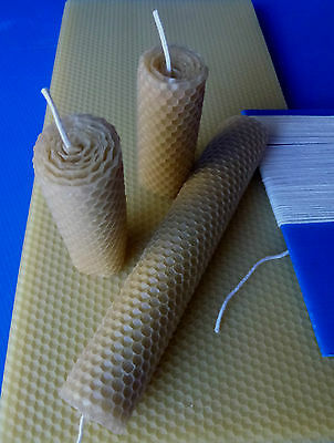 Kit for making natural rolled beeswax candles, 10 sheets, wick & instructions