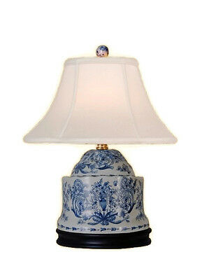 Chinese Blue and White Porcelain Box Chinoiserie Floral Table Lamp 17""