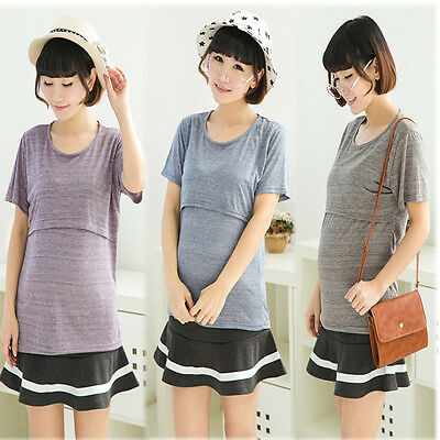 New Top Shirt Tee Nursing Breastfeeding Crew Neck Classic Comfy M/L AL573