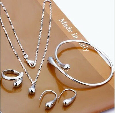 New lady Jewelry Solid 925 Silver Set Necklace/ Bracelet /Earring/Ring Xmas Gift