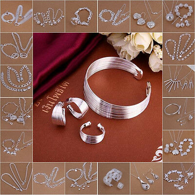 ladys Xmas Gift 925 sterling Silver Jewelry Set Bracelet Necklace Ring Earrings