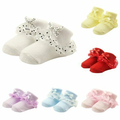 Newborn Baby Girl Infant Lovely Lace Bowknot Ruffe Anti-slip Socks Boots Soft