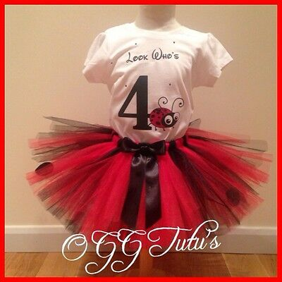 Handmade Birthday Ladybug ladybird nspired Personalised tutu any age