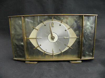 Vintage 8 Day Metamec Mantel Clock Brass and Resin 50s-60s