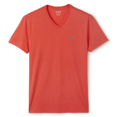 Lacoste Men/'s Sport Short Sleeve Cotton Jersey Basic Vneck T-shirt Citrouille