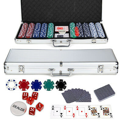 500  Professional Texas Casino Game Poker Chips 11.5G Set Aluminium Case For Fun