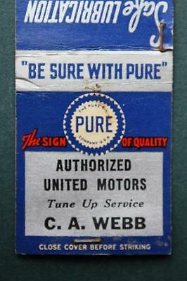 1940-50s Era C.A.Webb Pure Oil Gasoline matchbook-Tiolene Motor Oil-VINTAGE COOL