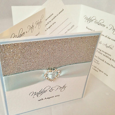 SAMPLE Wedding day evening invitation & RSVP card *All That Sparkles* 83 colours