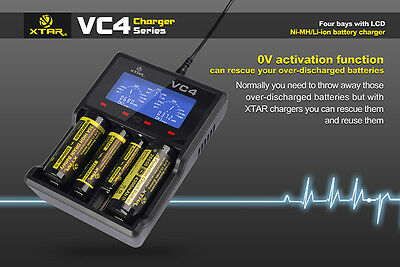 XTAR VC4 écran LCD chargeur USB 18650 26650 32650 14500 AA AAA Batterie GG
