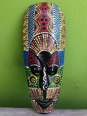 Aboriginal Tribal African Mask Decor Carved Dot Art Home Hanging Hand Paint Wood