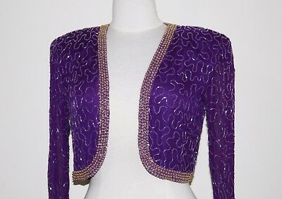 Jasdee Vintage Bolero Jacket Long Sleeve Hand Work Beading On Silk Chiffon  #245
