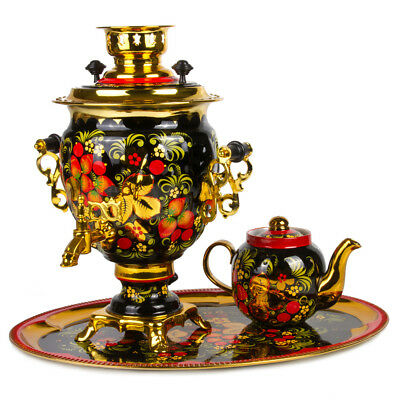 Samovar Electric US 110 V Made in Russia Flowers on a Golden Background