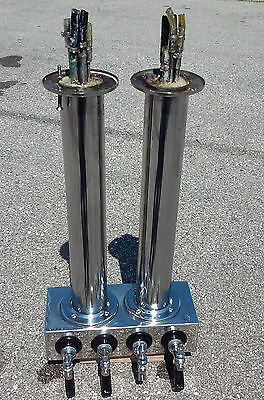 Draft Beer Tap Tower, 8 faucet, dual sided island mount for ceiling or counter