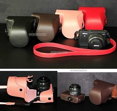Leather case bag to Nikon 1 J4 camera 10-30mm 10-100mm or 30-110mm lens New CR