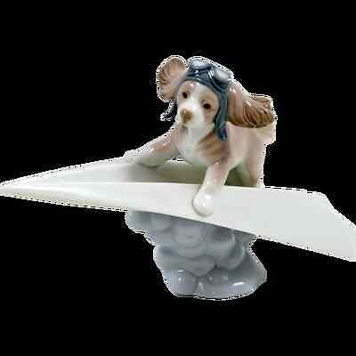 Lladro #6665 Let's Fly Away Brand New In Box Dog On Paper Airplane Bargain F/sh