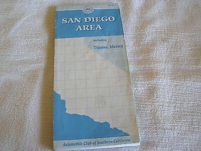 Vintage AAA San Diego Area Tijuana Mexico State City Highway Interstate Road Map