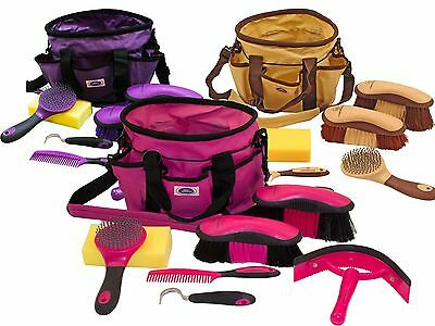 Derby Ringside 8 Piece Horse Grooming Brush Kit Set with Tote Bag Free Shipping