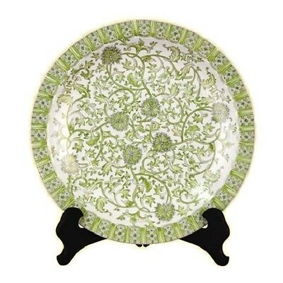 "Beautiful White and Green Porcelain Tapestry Chinese Plate 16"" Diameter"