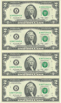 2009 U.s. $2 Two Dollar Bills Letter A - 4 Subject Uncut Sheet Real Money